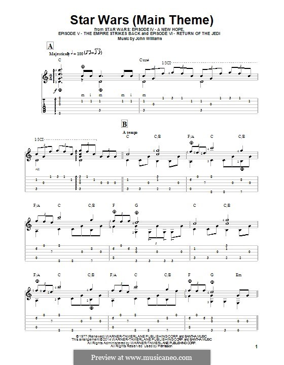 star wars theme sheet music pdf