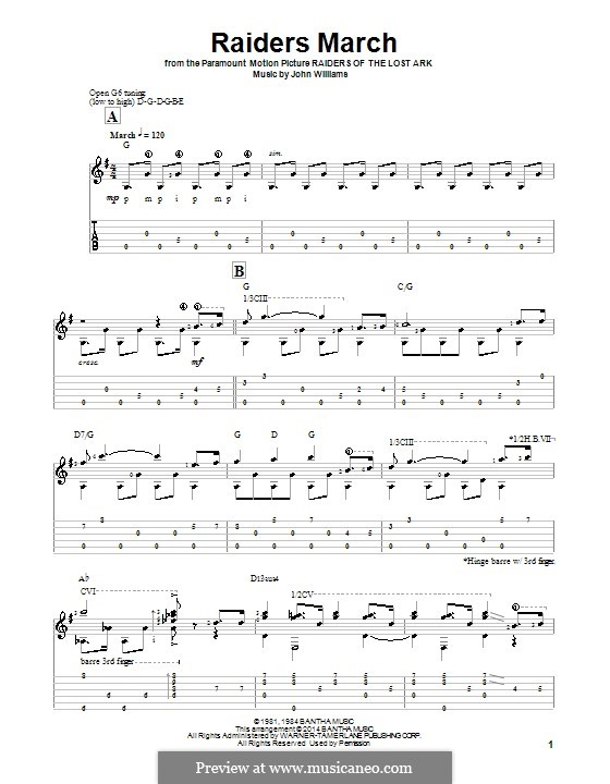 Raiders March (from Raiders of the Lost Ark): For guitar with tab by John Williams