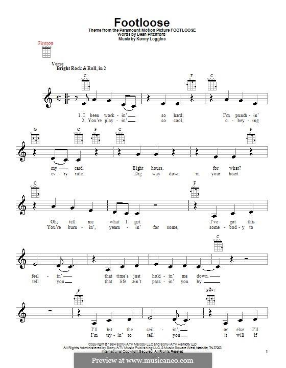 Footloose: For ukulele by Kenny Loggins