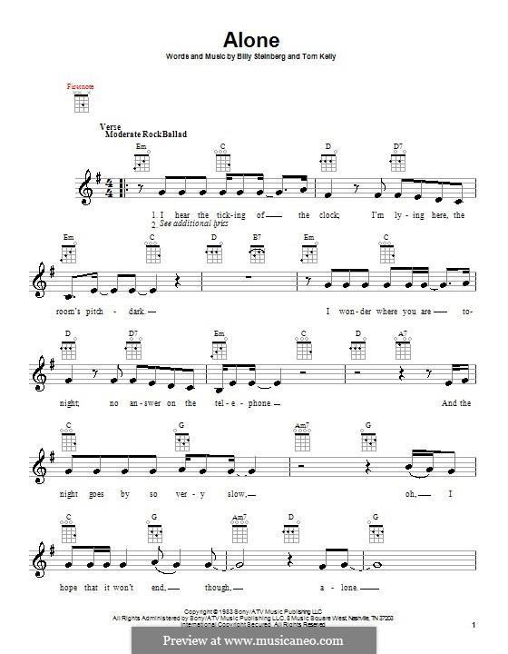 Alone: For ukulele by Billy Steinberg, Tom Kelly