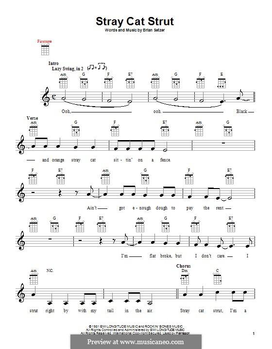 Stray Cat Strut (Stray Cats): For ukulele by Brian Setzer