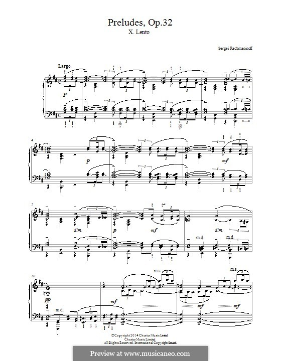 Thirteen Preludes, Op.32: Prelude No.10 in B Minor by Sergei Rachmaninoff