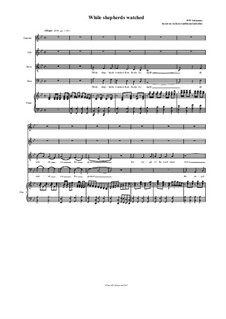 While Shepherds watched - in various melodies: Version in B flat SATB by folklore, David W Solomons