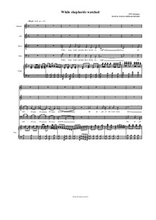 While Shepherds watched - in various melodies: Version in C major SATB by folklore, David W Solomons