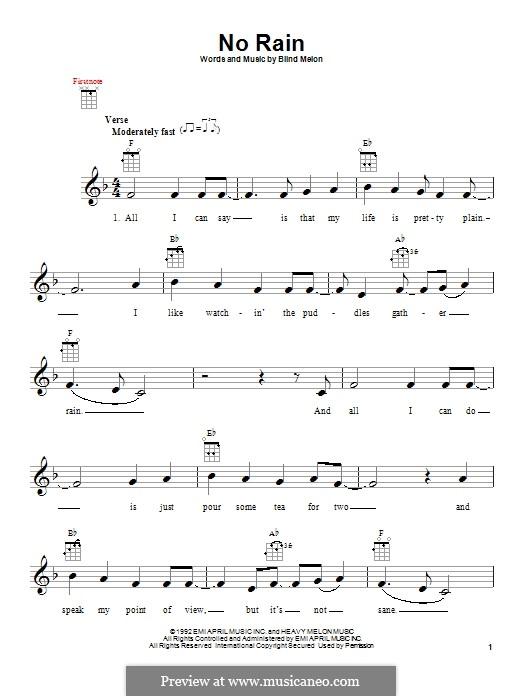 No Rain (Blind Melon): For ukulele by Brad Smith, Christopher Thorn, Glen Graham, Roger Stevens, Shannon Hoon