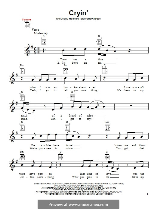 Cryin' (Aerosmith): For ukulele by Joe Perry, Steven Tyler, Taylor Rhodes