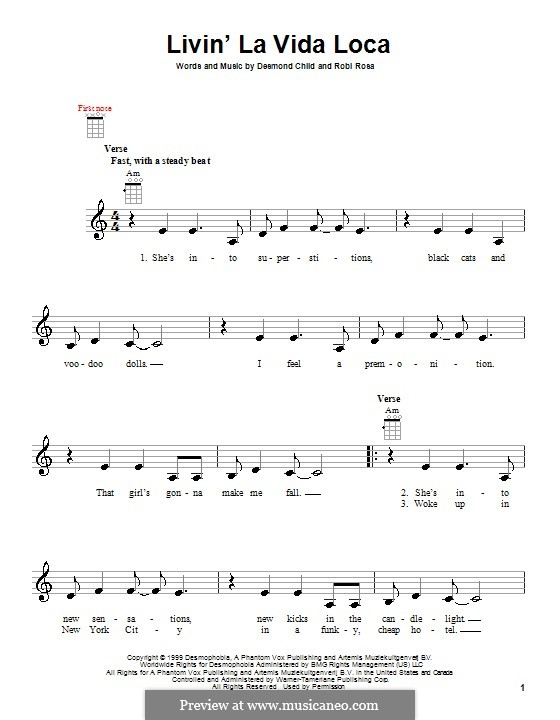 Livin' la vida loca (Ricky Martin): For ukulele by Desmond Child, Robi Rosa