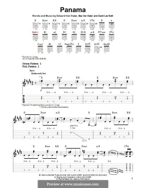 Panama (Van Halen): For guitar with tab by Alex Van Halen, David Lee Roth, Edward Van Halen, Michael Anthony