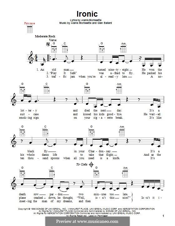 Ironic: For ukulele by Alanis Morissette, Glen Ballard