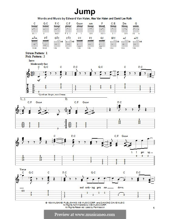 Jump (Van Halen): For guitar with tab by Alex Van Halen, David Lee Roth, Edward Van Halen, Michael Anthony
