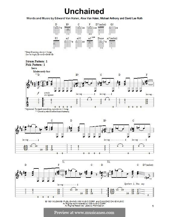 Unchained (Van Halen): For guitar with tab by Alex Van Halen, Edward Van Halen, Michael Anthony