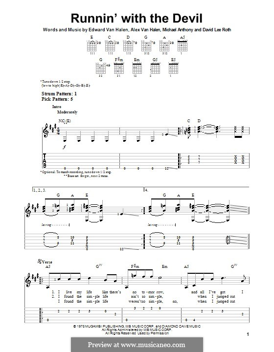 Runnin' with the Devil (Van Halen): For guitar with tab by Alex Van Halen, David Lee Roth, Edward Van Halen, Michael Anthony