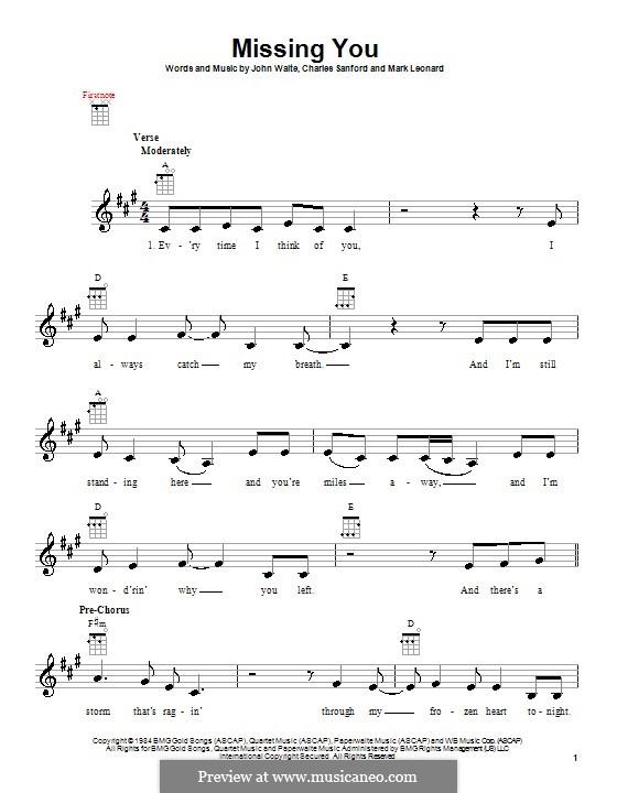 Missing You (John Waite): For ukulele by Charles Sanford, Mark Leonard