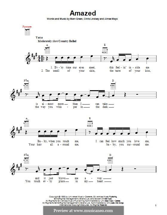 Amazed (Lonestar): For ukulele by Aimee Mayo, Chris Lindsey, Marv Green