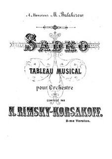 Sadko. Musical Picture, Op.5: Full score by Nikolai Rimsky-Korsakov