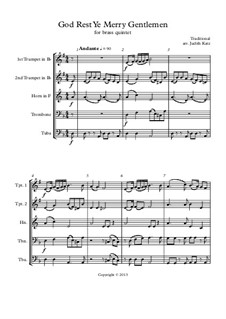 God, Rest Ye Merry Gentlemen: For brass quintet by Unknown (works before 1850)
