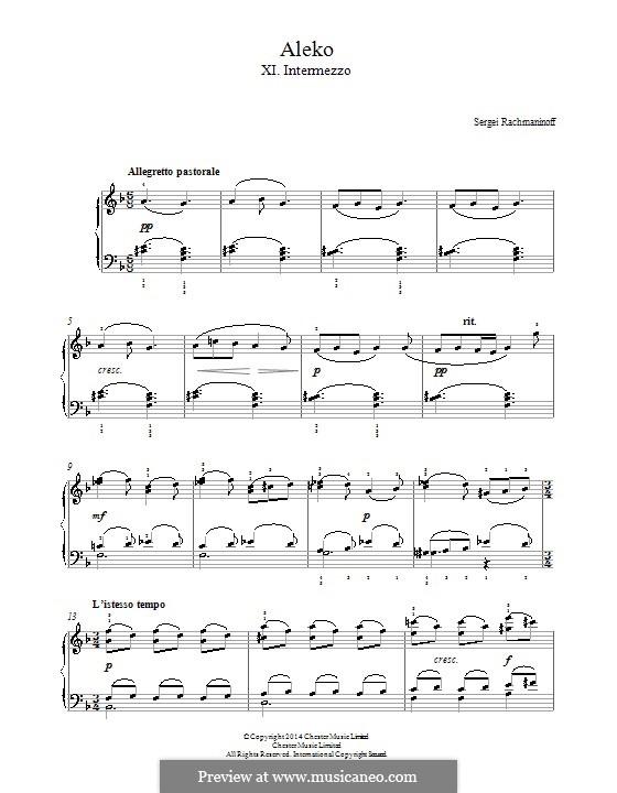 Aleko: No.11 Intermezzo, for piano by Sergei Rachmaninoff