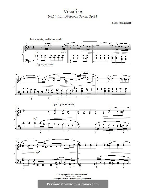 Vocalise, Op.34 No.14: For piano by Sergei Rachmaninoff