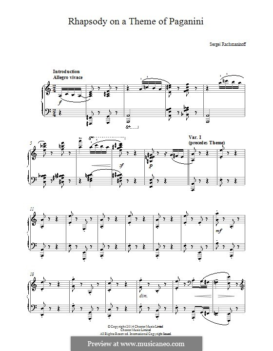 Rhapsody on a Theme of Paganini, Op.43: For easy piano by Sergei Rachmaninoff