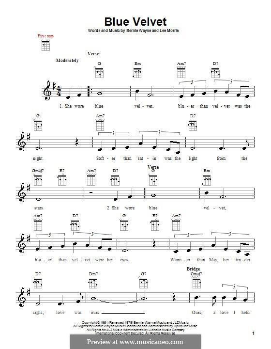 Blue Velvet: For ukulele by Bernie Wayne, Lee Morris