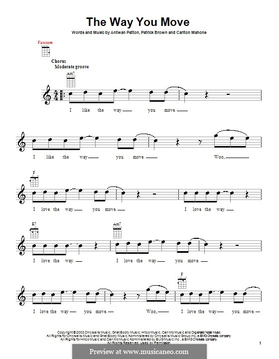 The Way You Move (OutKast): For ukulele by Antwan Patton, Carlton Mahone, Patrick Brown