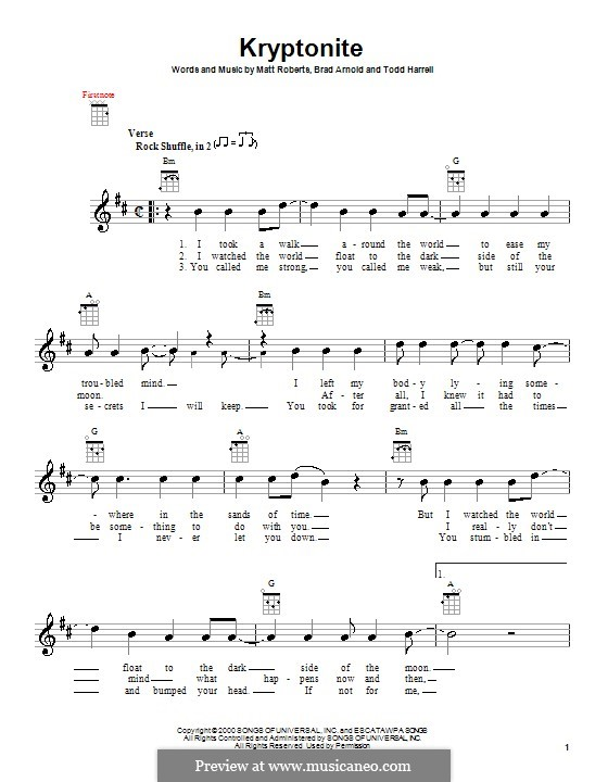 Guitar kryptonite guitar tabs : Kryptonite (3 Doors Down) by B. Arnold, M. Roberts, T. Harrell on ...