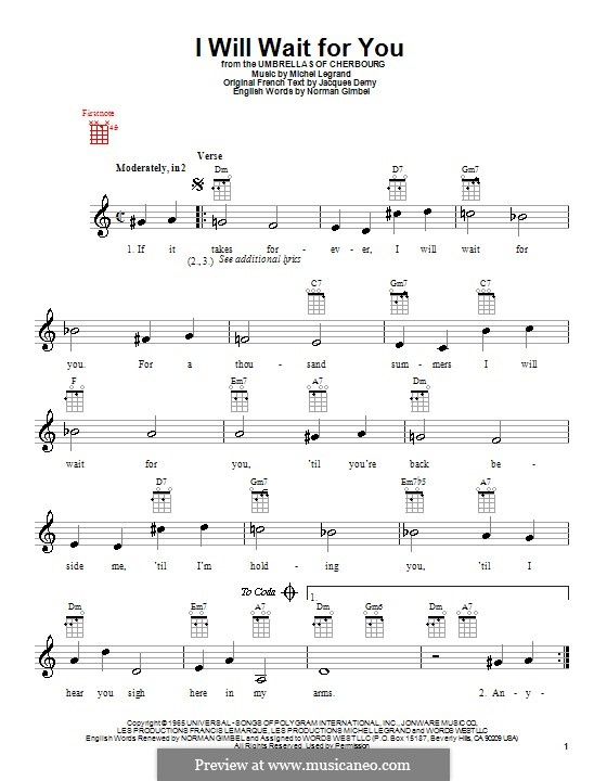 I Will Wait for You: For ukulele by Michel Legrand