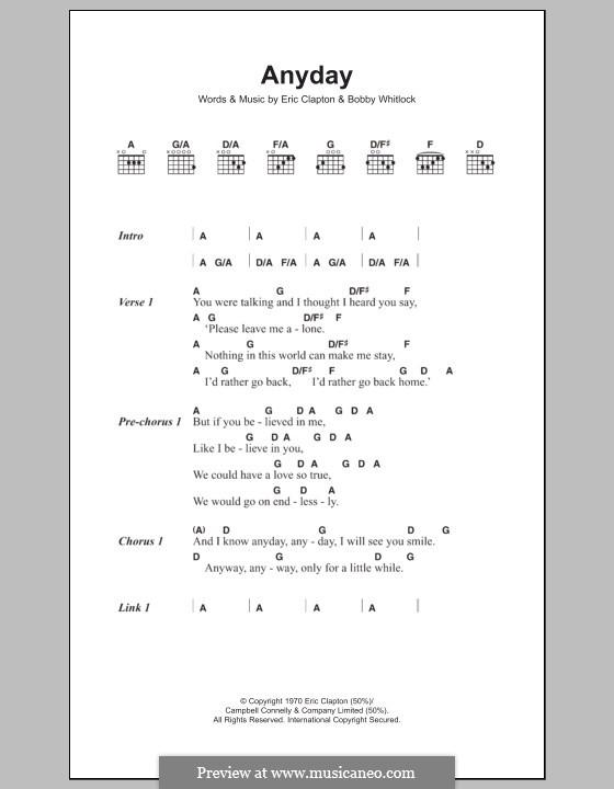 Any Day: Lyrics and chords by Bobby Whitlock, Eric Clapton
