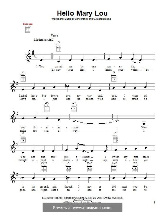 Hello Mary Lou (Ricky Nelson): For ukulele by Cayet Mangiaracina, Gene Pitney