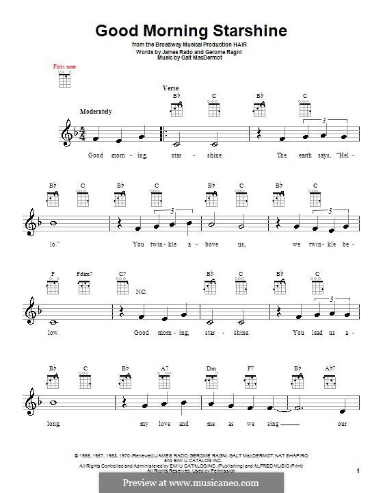 Good Morning Starshine (from Hair): For ukulele by Galt MacDermot