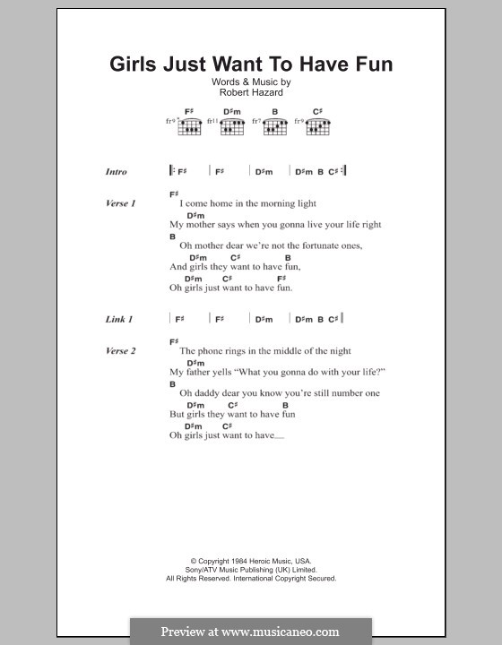 Girls Just Want To Have Fun By R Hazard Sheet Music On Musicaneo