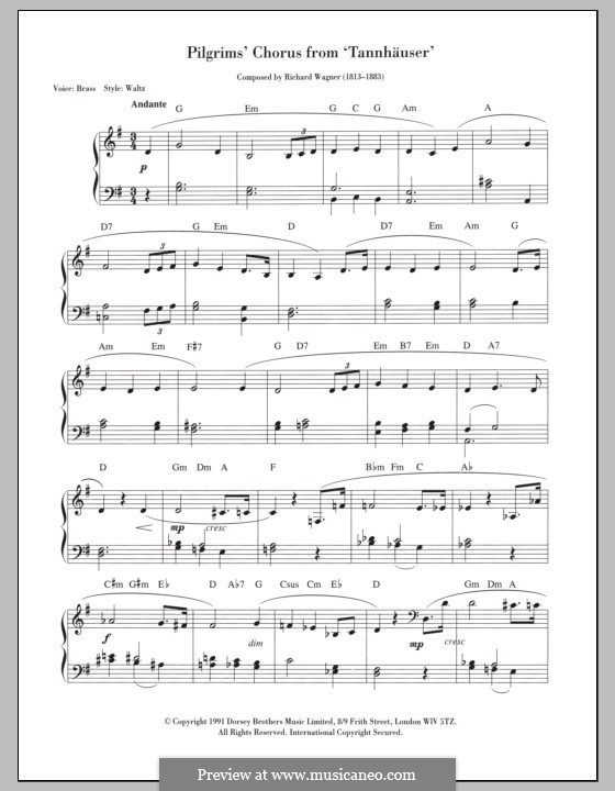 Choir of Pilgrims: For keyboard by Richard Wagner