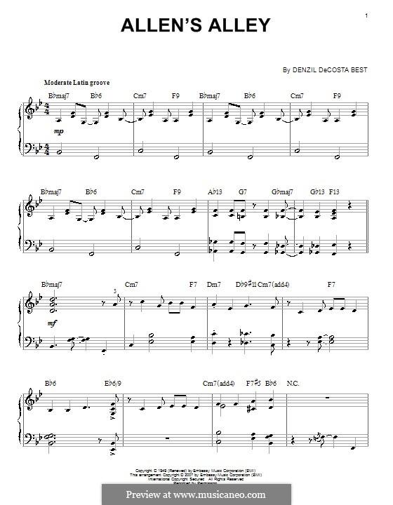 Allen's Alley: For piano by Denzil De Costa Best