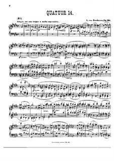 String Quartet No.14 in C Sharp Minor, Op.131: Version for piano by Ludwig van Beethoven