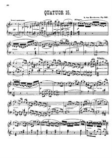 String Quartet No.15 in A Minor, Op.132: Version for piano by Ludwig van Beethoven
