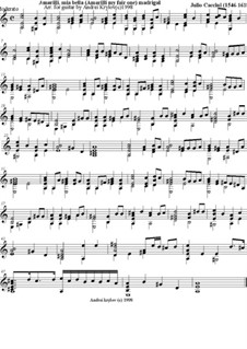 Amarilli, mia bella: For guitar by Giulio Caccini