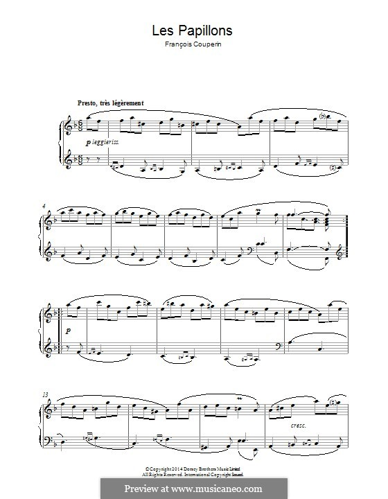 Les Papillons: For piano by François Couperin