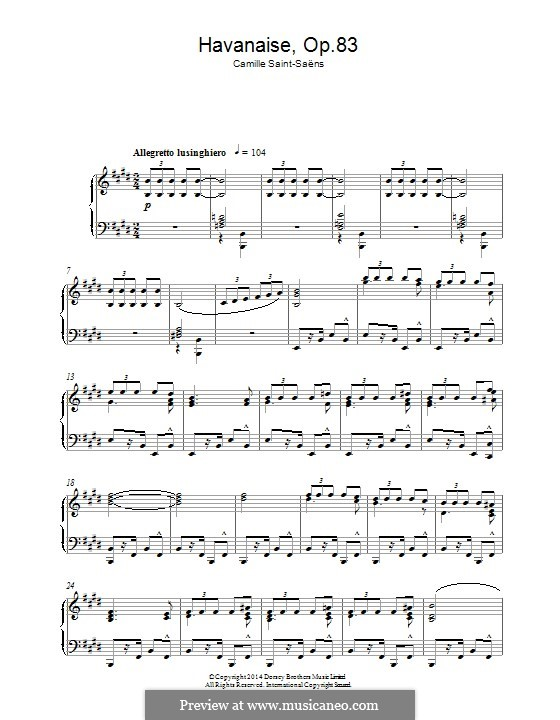 Havanaise, Op.83: For piano by Camille Saint-Saëns