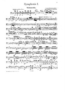 Complete Symphony: Version for piano four hands with violin and cello – cello part by Ludwig van Beethoven