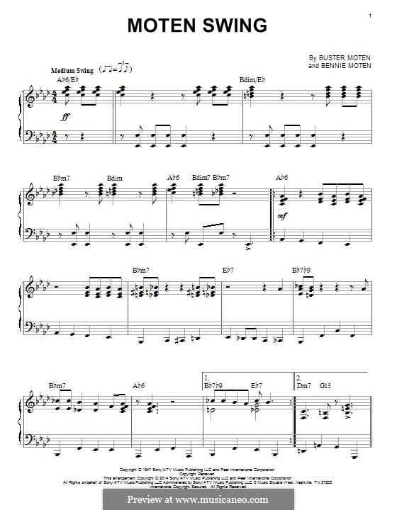 Moten's Swing (Moten and Moten): For piano by Bennie Moten
