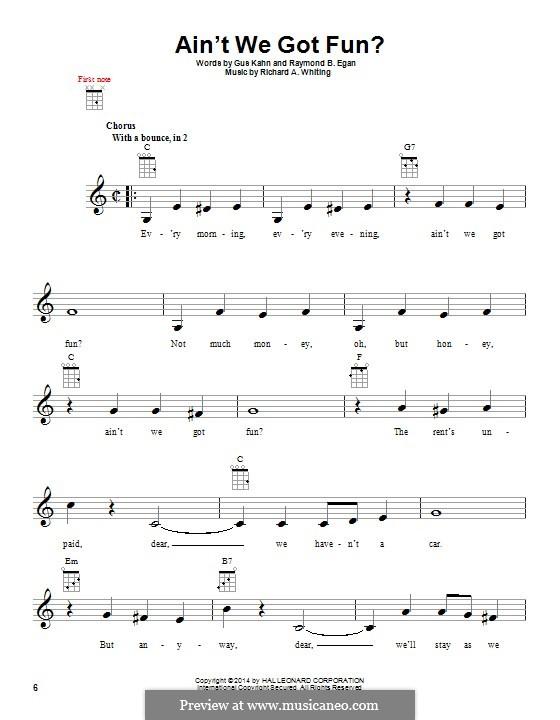 Ain't We Got Fun? (Doris Day): For ukulele by Richard A. Whiting
