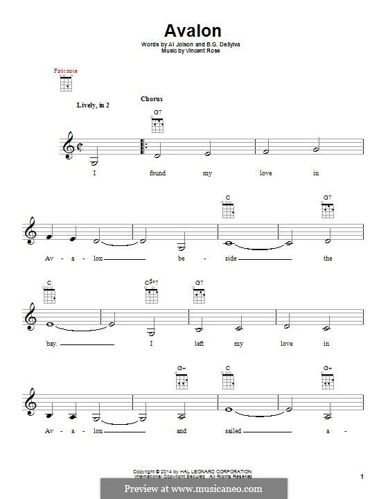 Avalon (Al Jolson): For ukulele by Vincent Rose