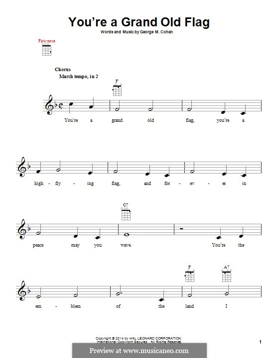 You're a Grand Old Flag: For ukulele by George Michael Cohan