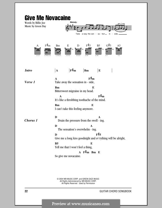 Give Me Novacaine (Green Day): Lyrics and chords by Billie Joe Armstrong, Tré Cool, Michael Pritchard