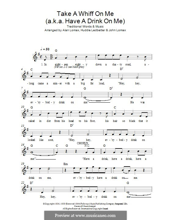 Take a Whiff on Me (a.k.a. Have a Drink on Me): Lyrics and chords by folklore
