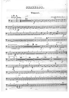 Serenade No.1 in D Major, Op.11: Timpani parts by Johannes Brahms