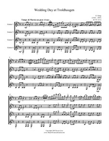 Lyric Pieces, Op.65: No.6 Wedding Day at Troldhaugen, for guitar quartet - score and parts by Edvard Grieg