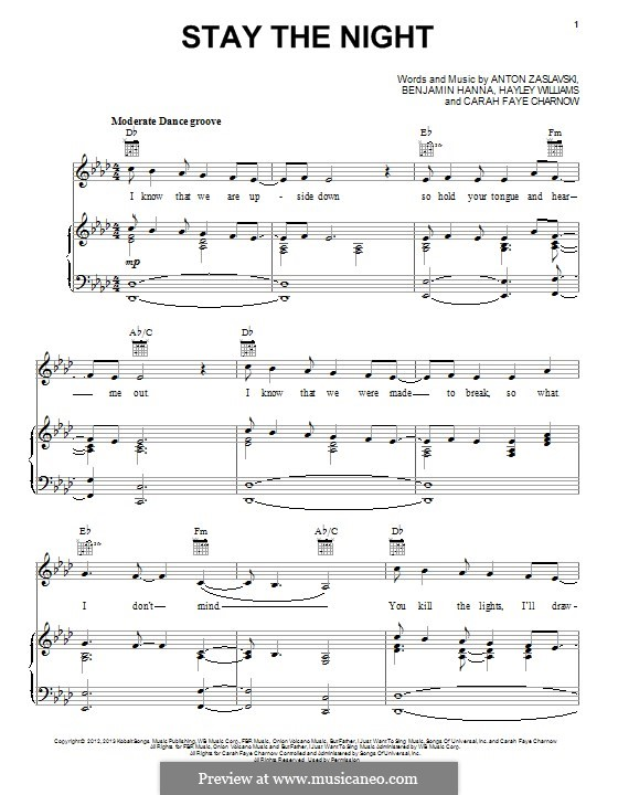 Stay the Night: For voice and piano (or guitar) by Hayley Williams, Anton Zaslavski, Carah Faye Charnow, Benjamin Hanna