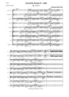 Concerto for Two Violins, Cello and Strings No.2 in G Minor, RV 578: Full score, parts by Antonio Vivaldi