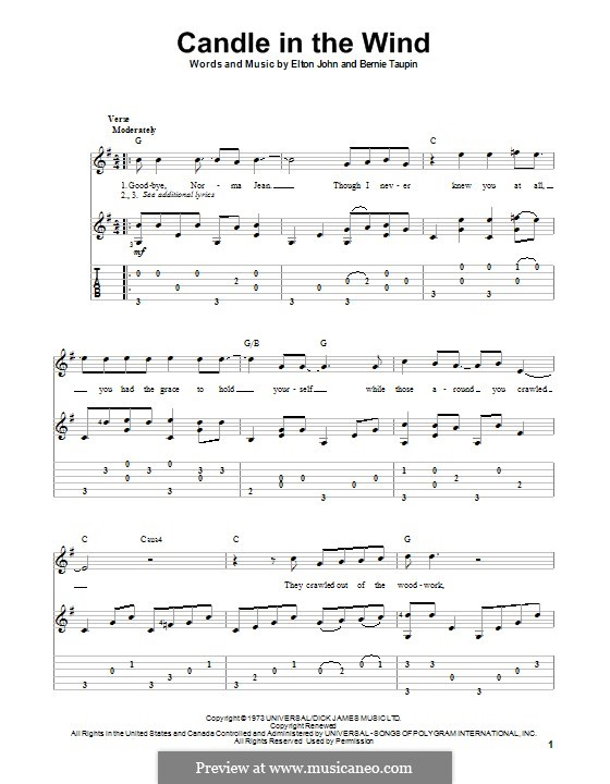 Candle in the Wind: For guitar with tab by Elton John